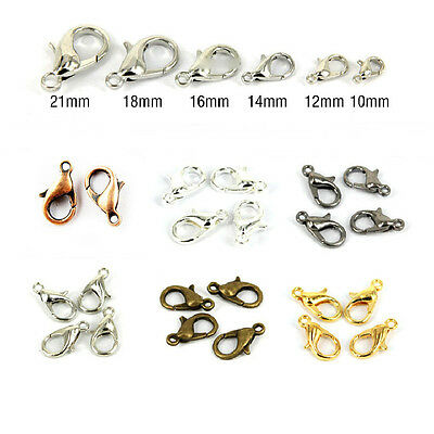 50/100Pcs Bronze Silver/Gold Plated Lobster Claw Clasp Hook Making 10/12/14/16mm