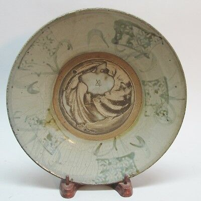 """Very Old/Ancient 10"""" Korean Asian Shallow Bowl Hand-Painted w/ Celadon Glaze"""