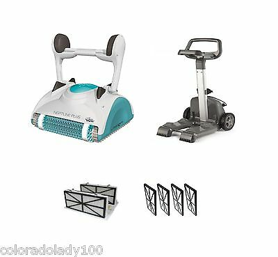 Maytronics Dolphin Neptune Plus Robotic Pool Cleaner and Caddy 2 Yr Warranty NEW