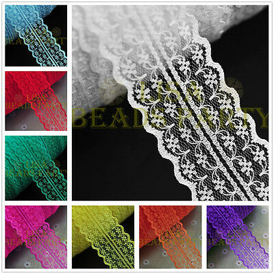 Bulk 5yards 45mm Fabric Embroidered Lace Bilateral Trim Ribbon Sewing 37 Colors