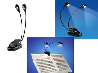 Hot Dual Arm 2 LED Stand Light Lamp For Pianos Music Stand Schools Clubs