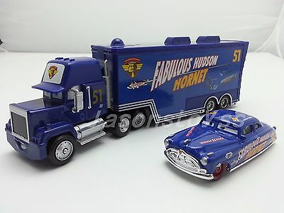 Disney Pixar Car No.51 Mack Racer's Truck & Fabulous Hudson Hornet Toy 1:55 New