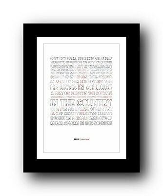 BLUR Country House  ❤  song lyrics typography poster art print