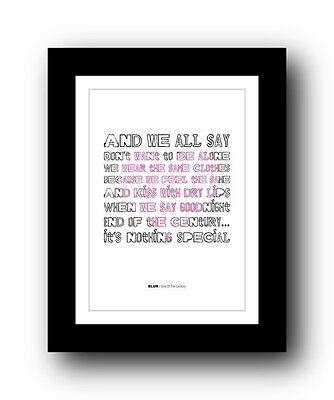 BLUR End Of The Century #2  ❤  song lyrics typography poster art print