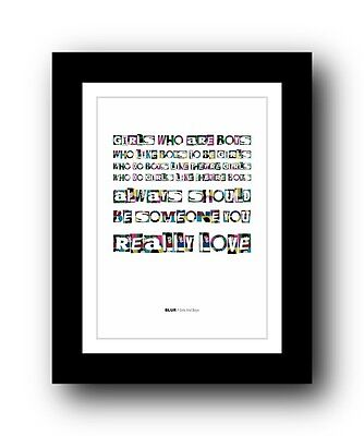 BLUR Girls And Boys #2  ❤  song lyrics typography poster art print