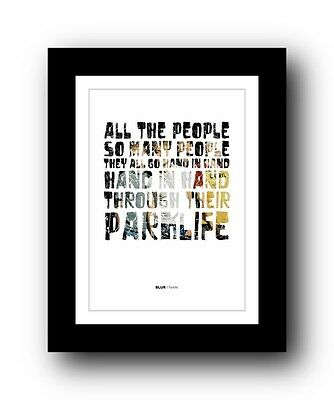 BLUR Parklife #2  ❤  song lyrics typography poster art print