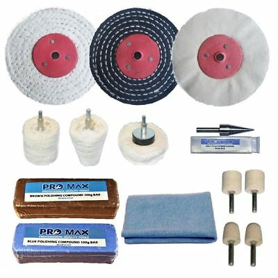 "Alloy Wheel Polishing Buffing Kit Pro-Max 3"" x 1/2"" 15pc"