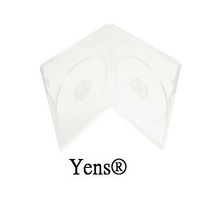 Yens® 50 Premium Standard Clear Double CD DVD Case 14MM Movie Box 50#14CDVD2