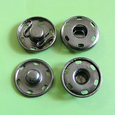 8 Metal Snap Fastener Press Stud Coat Sew On Buttons Pewter 14mm M189