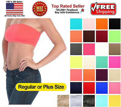 Womens Strapless Padded Bra Bandeau Tube Top Removable Pads Seamless Many Colors