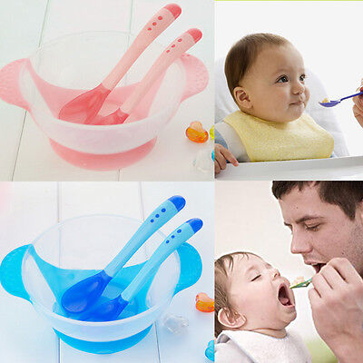 Baby Suction Bowl Prevent Slip Color Changing Spoon Fork Feeding Tableware Kit