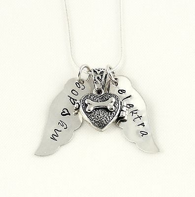 Pet Memorial Necklace - Dog Bone Locket with Win Sterling Silver