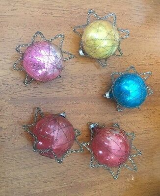 Antique Vintage Glass Balls Wire Wrapped Stars Christmas Ornaments