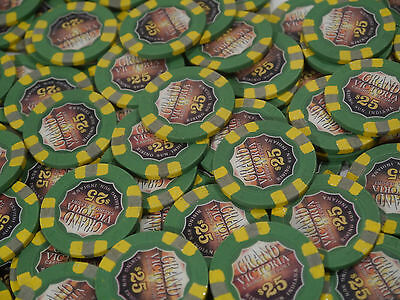 100 cleaned used Grand Victoria Casino $25 Paulson poker chips