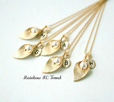 18K Gold/Silver Plated Initial Leaf Letter Flower Pearl Necklace Chain