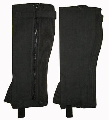 Ladies Mens WIDE Black Brown Washable Amara Suede Horse Riding Half Chaps Gaiter