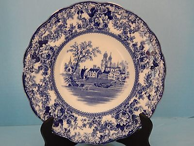 Flow Blue Plate Lake Scene - Marked Colonial Pottery Stoke England