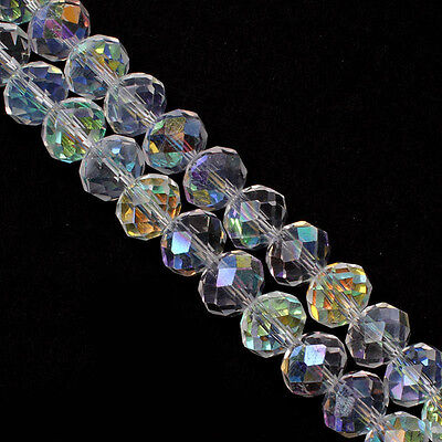 Lots 100Pcs White AB Faceted Crystal Glass Rondelle Loose Spacer Beads DIY 4mm