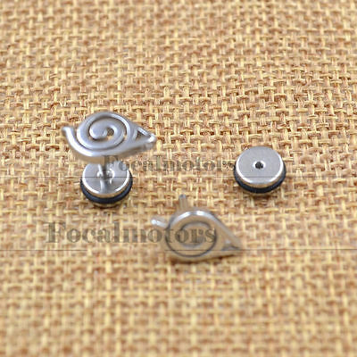 Unisex Anime Naruto Earrings Ear Stud Gaara Cosplay Silver Steel Cute Lovely