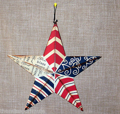 NEW~Large RED WHITE BLUE Distressed Tin Dimensional Star Patriotic Americana