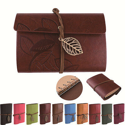 Retro Leaf Charm Faux Leather Cover NoteBook Travel Gift Sketchbook Blank Diary