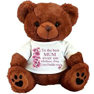 "Personalised Brown  Teddy Bear 30Cm/12"" Mother's Day Birthday Flower Girl"
