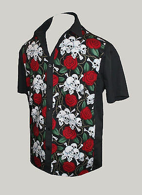 Mens Skull Rose Tattoo Rockabilly 50s Lounge Diner Shirt Goth Psychobilly Retro
