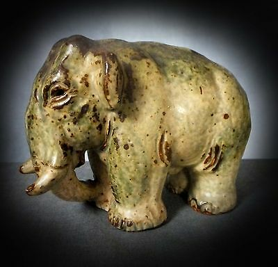 STUNNING LARGE ROYAL COPENHAGEN SUNG GLAZED ELEPHANT by KNUD KYHN