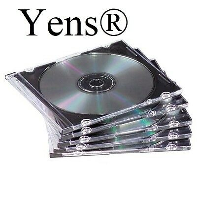 Yens® 100 New Black Single Slim CD DVD Jewel Case 5.2mm 100#5BCD