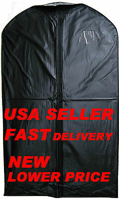LOT of 4 NEW BLACK 24x40 3-MIL VINYL FULL ZIPPER GARMENT BAG - FREE SHIPPING