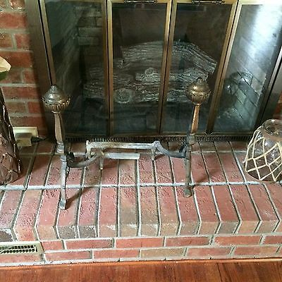 Vintage Cast Iron Fireplace Andirons Lot Of 2