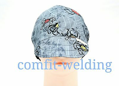 New pure cotton welding hat cap for welder painter pipe-fitter, spider web/black