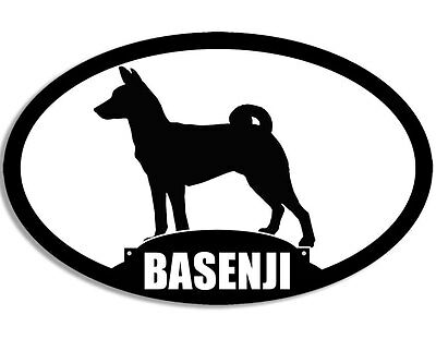 3x5 inch Oval Silhouette BASENJI Dog Sticker - decal breed rare love fun pup akc