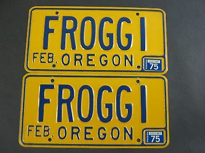 "Set of VINTAGE PERSONALIZED VANITY 70's - 80's OREGON License Plates ""FROGGI"""