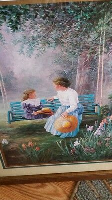 HOME INTERIOR PICTURE/LADY ON SWING WITH THE GIRL  PRETTY FLOWERS ON PICTURE.