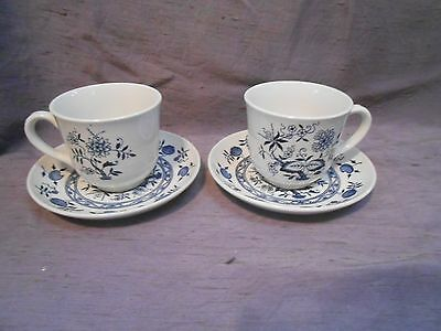 Wood & Sons Burslem England BLUE FJORD 2 Cups & Saucers Onion Pattern
