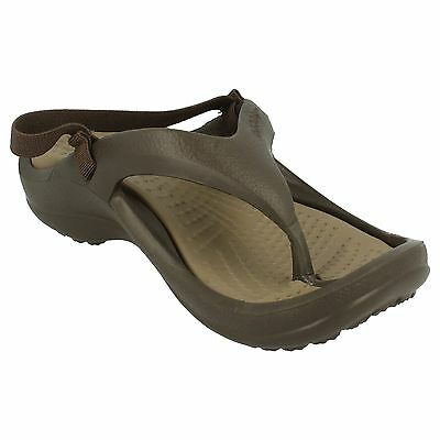 Junior Kids Crocs Athens Flip Flops In Chocolate/Khaki