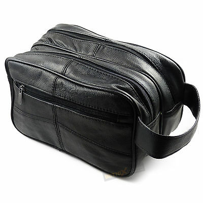 Large Black REAL LEATHER WASH BAG toiletries toiletry travel weekend GENTS MENS