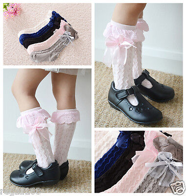Pretty Baby Toddler Kids Girl Cotton Lace Knee High Socks 9 months to 8 years