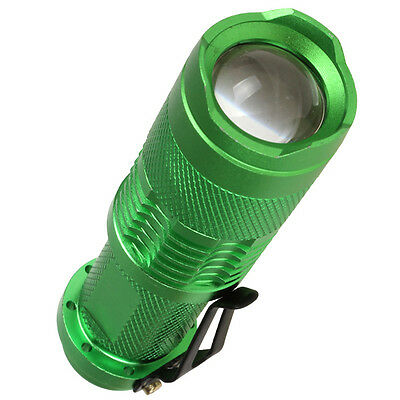 Green 400Lm CREE Q5 LED Zoomable Adjustable Focus Flashlight Torch Light 3Modes