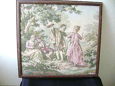 Framed Belgium Tapestry Country Side Scene 18Th Century Folks Playing Music Nice