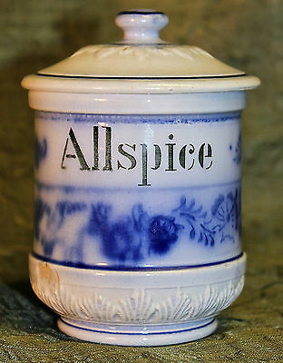 """ANTIQUE VINTAGE CERAMIC BLUE ONION 3"""" ALLSPICE JAR  WITH LID FROM GERMANY"""