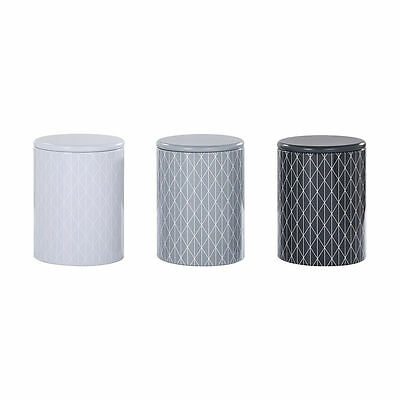 Set Of 3 Round Tin Canister Tea Coffee Sugar Canisters 15x11cm