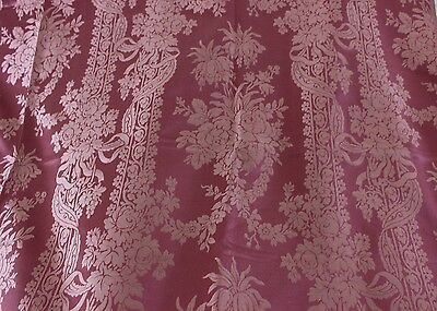 """Antique French 19thC Rose Lyon Silk Fabric Panel~1yd11""""LX51""""W~HomeDec,Collectors"""
