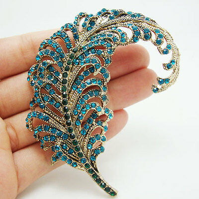 New Vintage Style Peacock Feathers Gold-tone Brooch Pin Blue Rhinestone Crystal