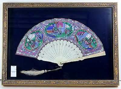 19th C Carved Fan Chinese Export Hand painted Court Scenes in Shadow Box Frame