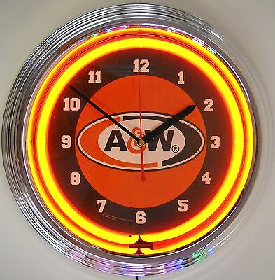 Neon Clock sign Retro A&W root beer Soda fountain pop Rootbeer A and W AandW
