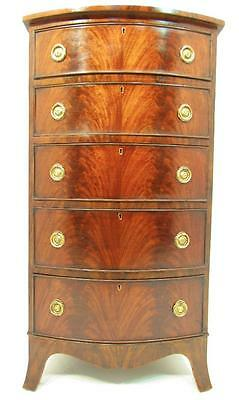 An Antique Tall and Narrow Flamed Bow Front  Mahogany  Chest Of drawers