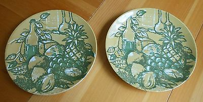 ROYAL IRONSTONE HONEY DEW SET OF 2 DINNER PLATES BY ROYAL CHINA GREEN AND GOLD