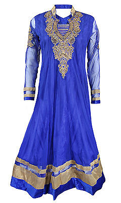 Royal Blue Embroided Anarkali Churidar Suit • EUR 43,89